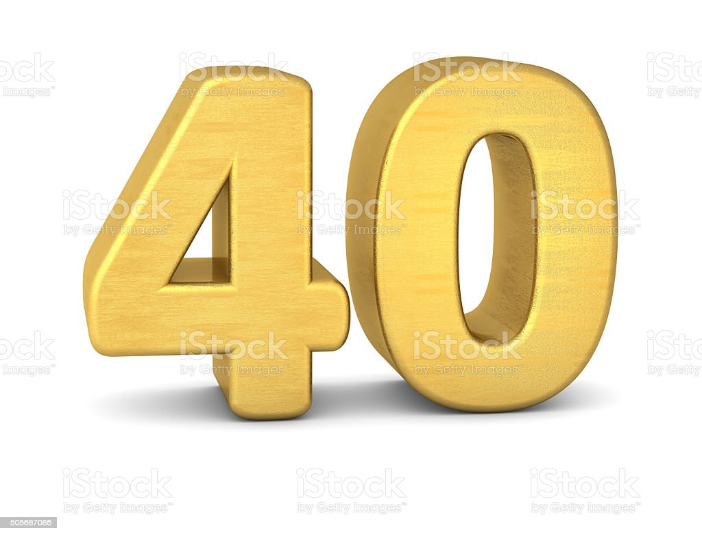 3d number 40 gold stock photo