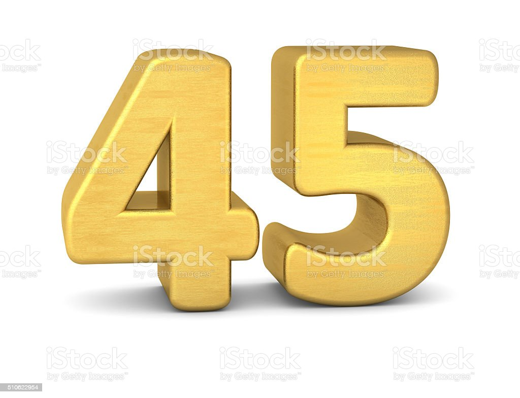 3d number 45 gold stock photo