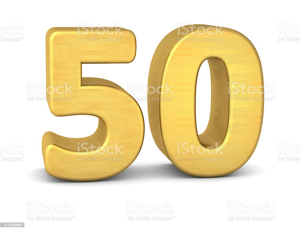 3d number 50 gold stock photo