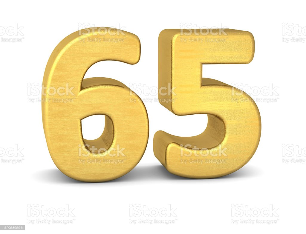 3d number 65 gold stock photo