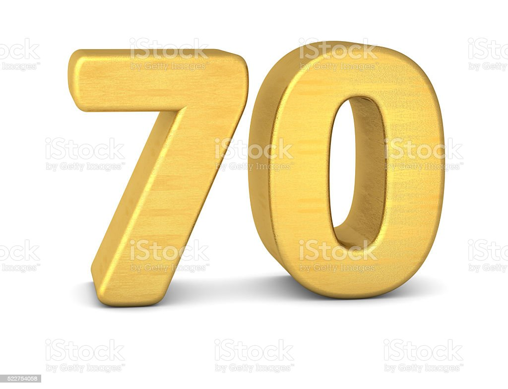 3d number 70 gold stock photo