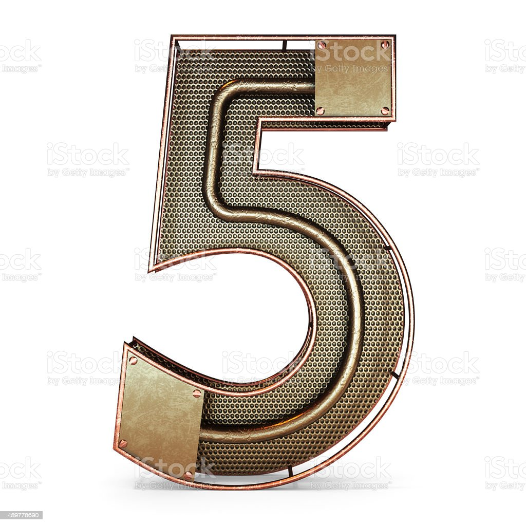 3d number five 5 symbol with rustic gold metal stock photo