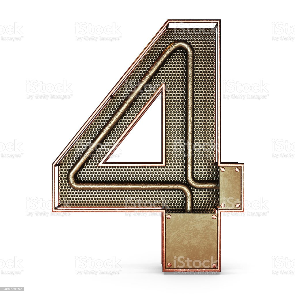 3d number four 4 symbol with rustic gold metal stock photo