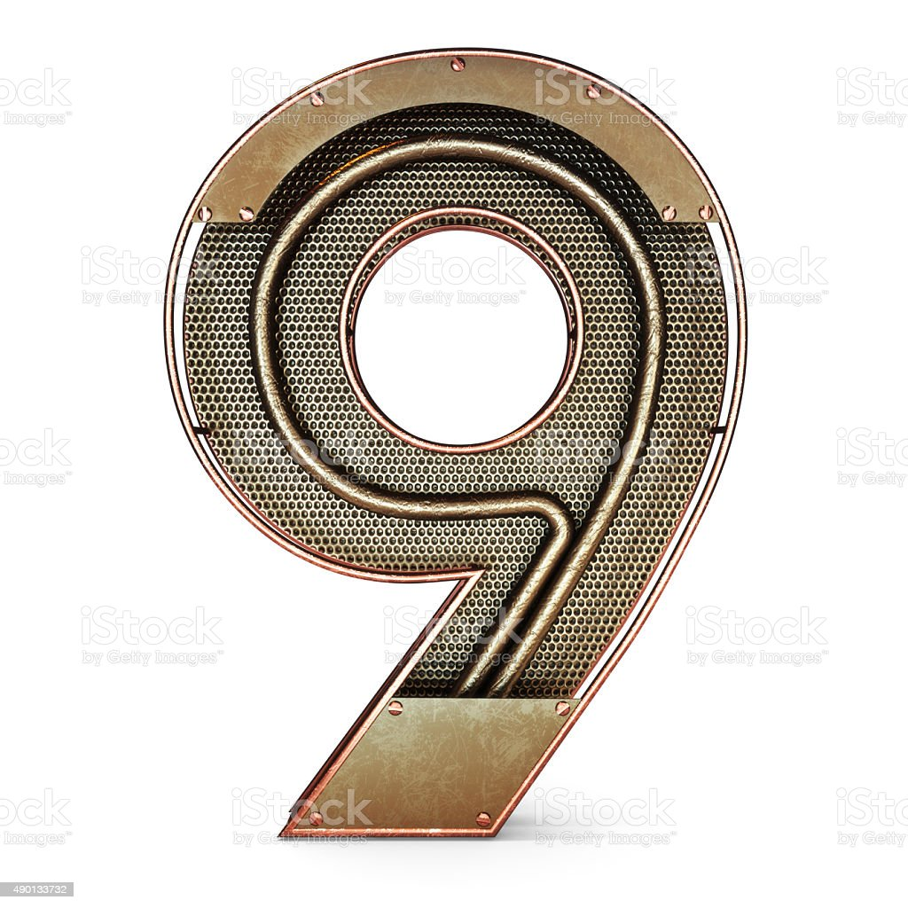 3d number nine 9 symbol with rustic gold metal stock photo