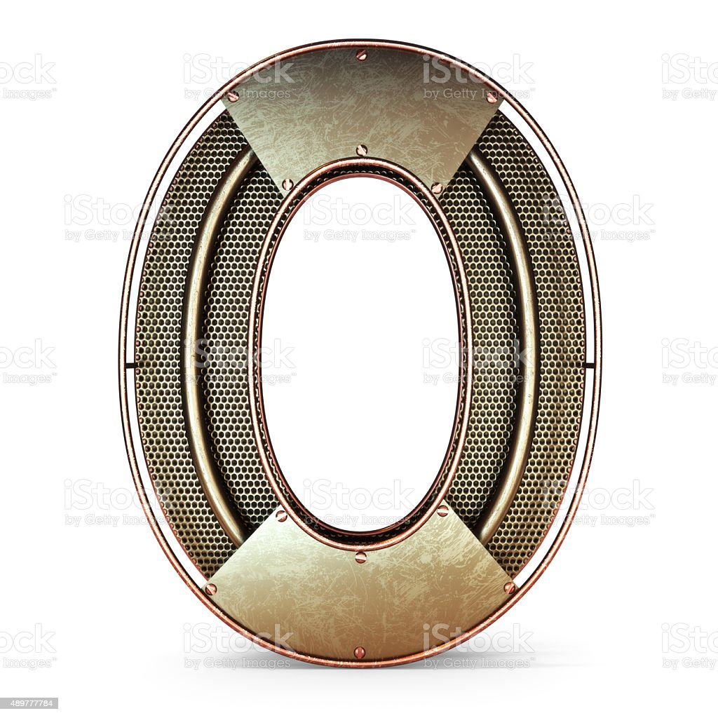 3d number zero 0 symbol with rustic gold metal stock photo
