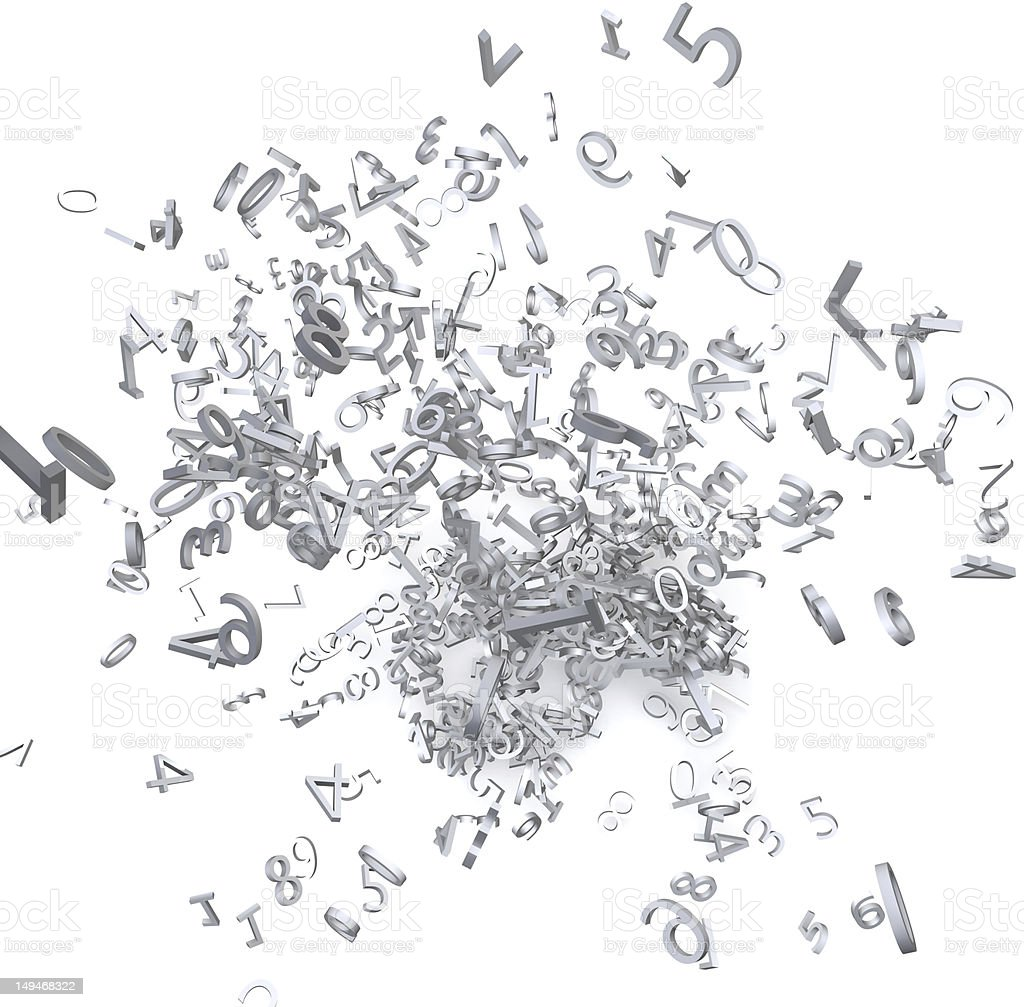 3d numbers exploded royalty-free stock photo