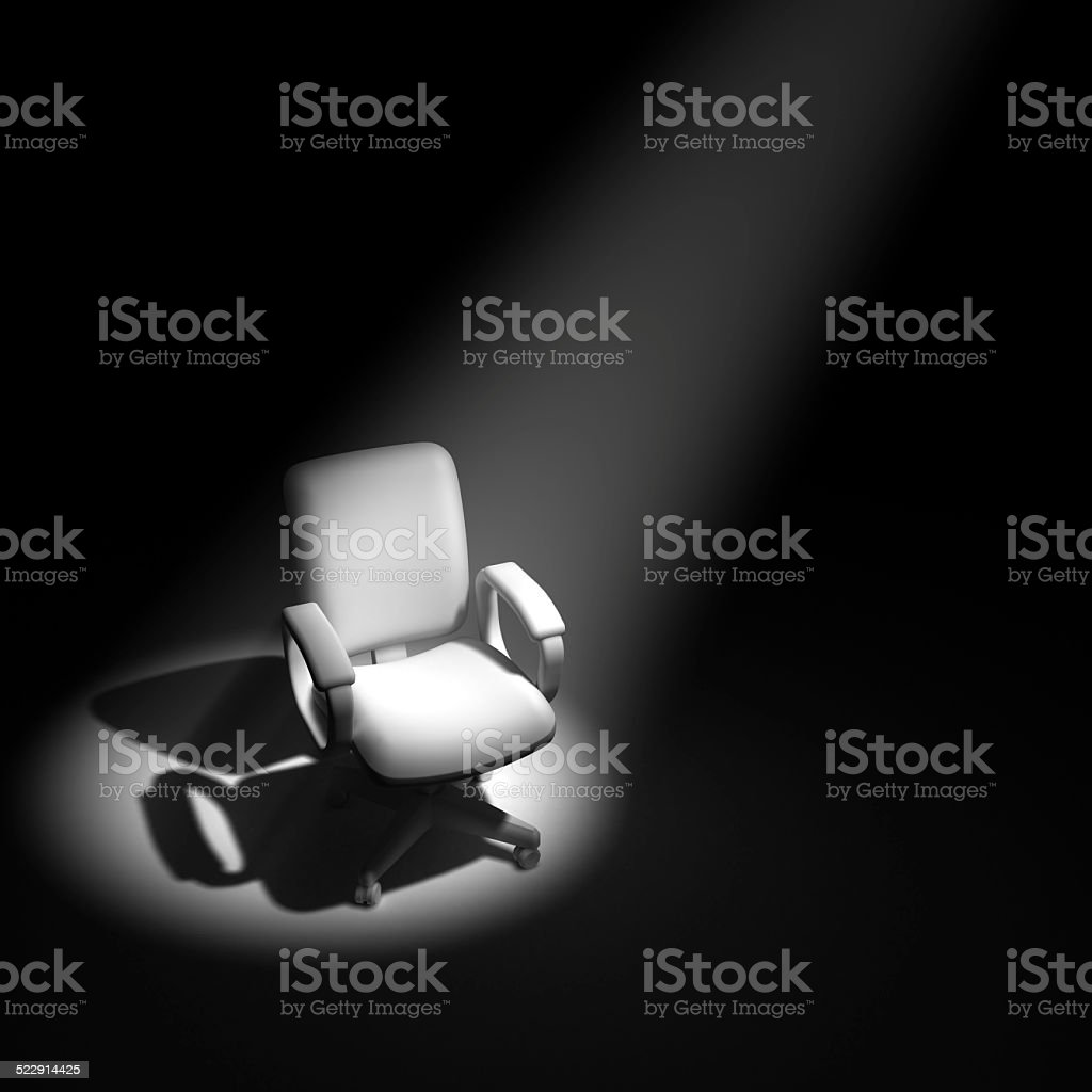 3d Office chair in spotlight stock photo