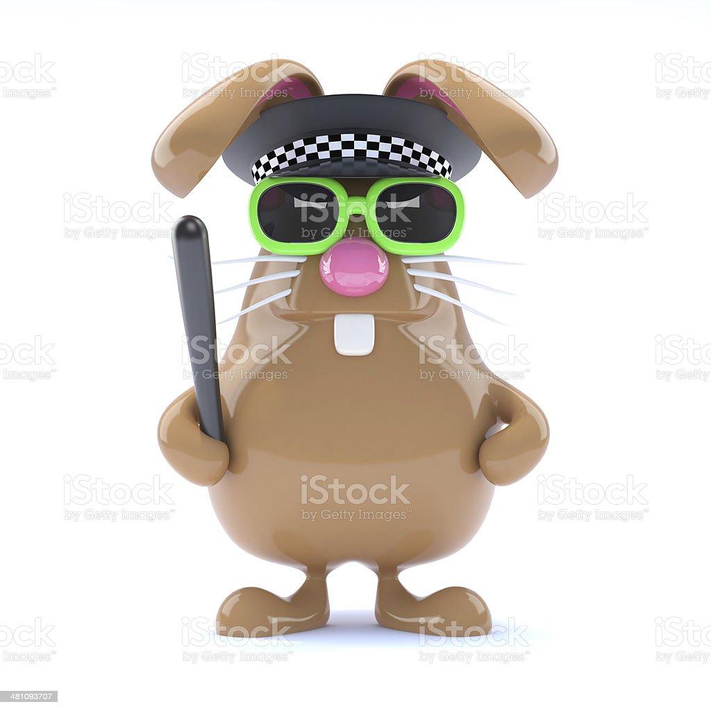 3d Officer bunny stock photo