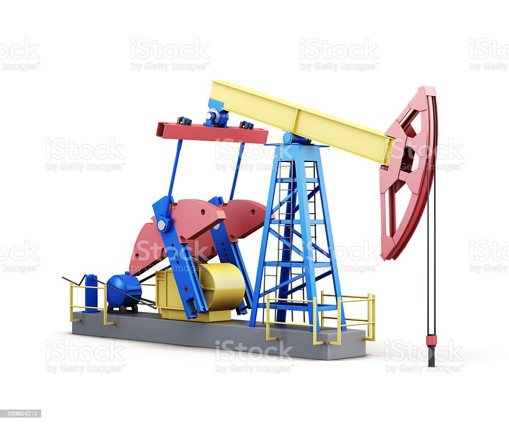 3d oil pump-jack isolated on white background stock photo