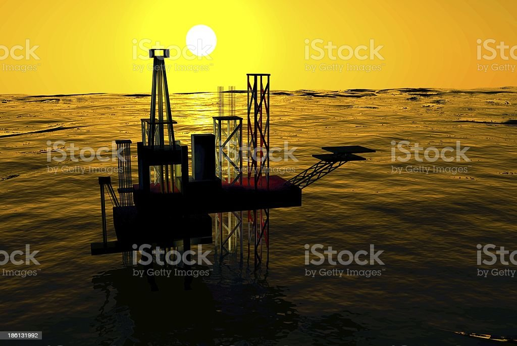 3d Oil Rig Silhouette, Ocean and Sunset, Orange Sky stock photo