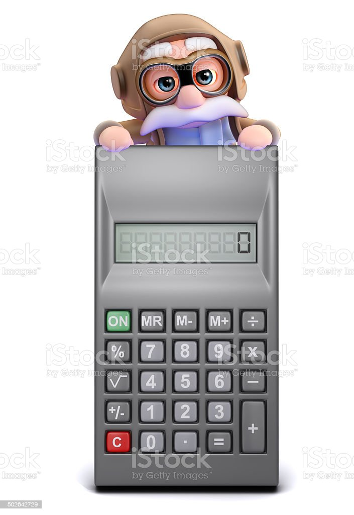 3d Old pilot looks over a calculator stock photo
