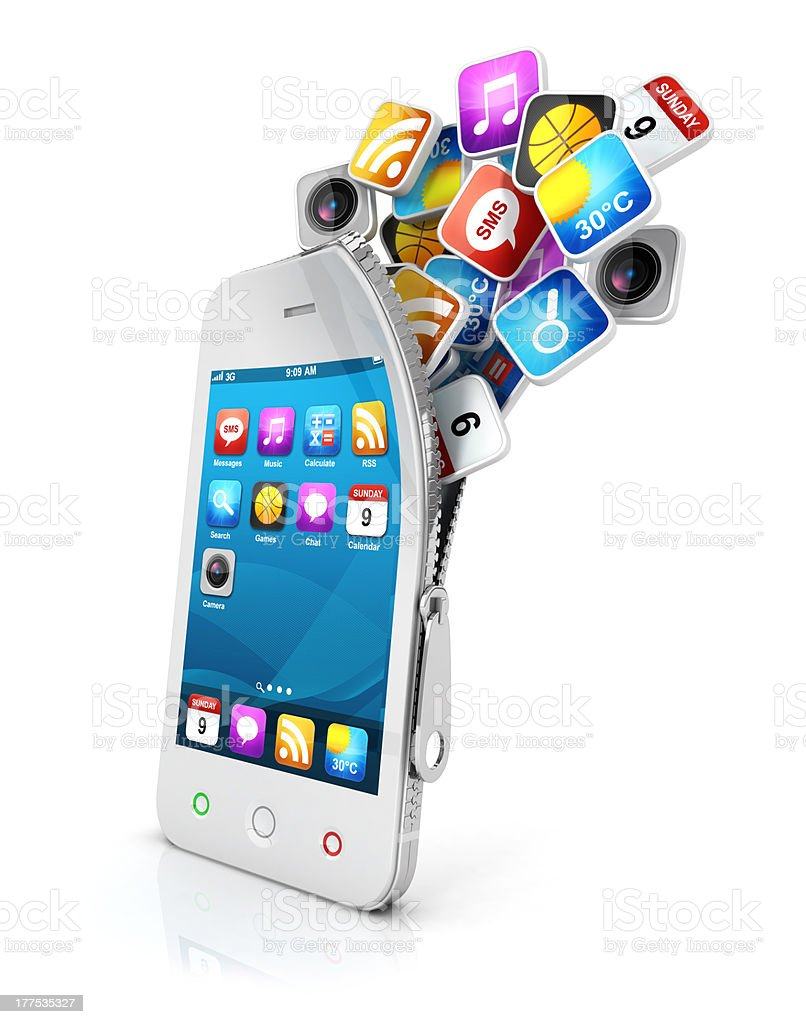 3d open smartphone royalty-free stock photo