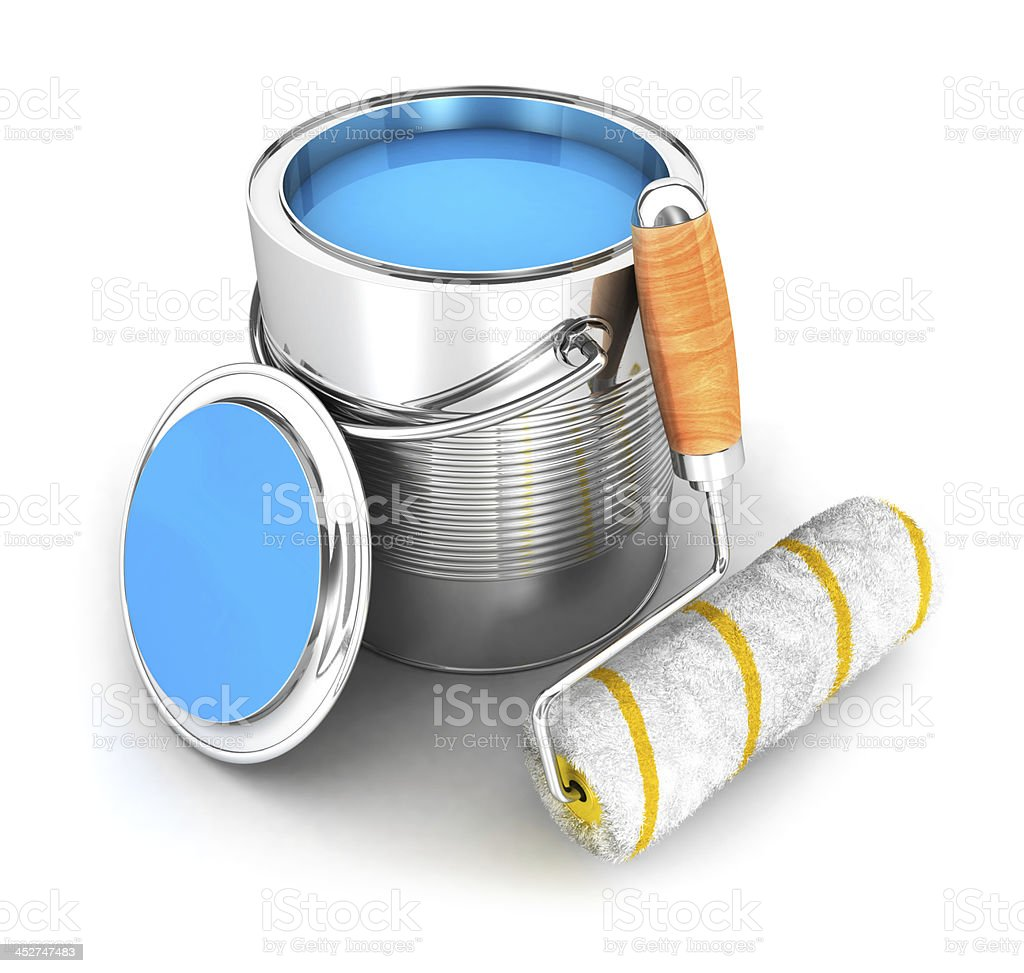 3d paint can and a roller brush royalty-free stock photo