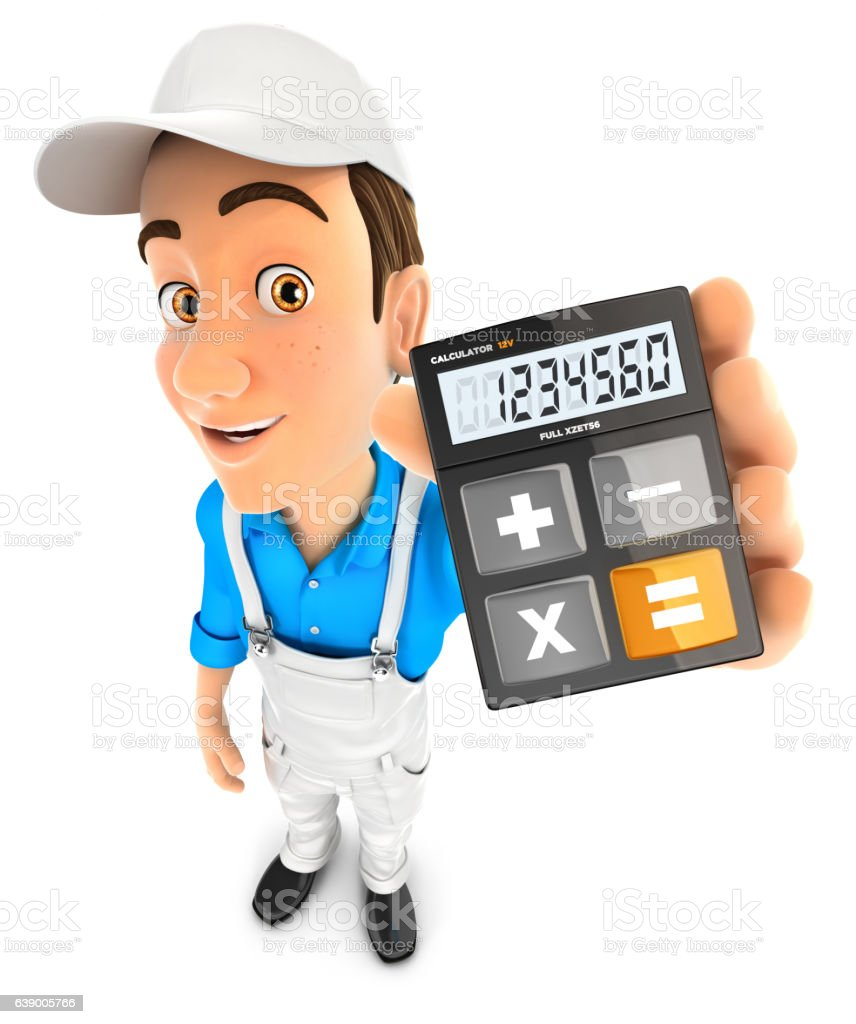 3d painter holding calculator stock photo