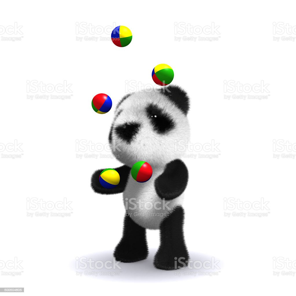 3d Panda bear juggles stock photo