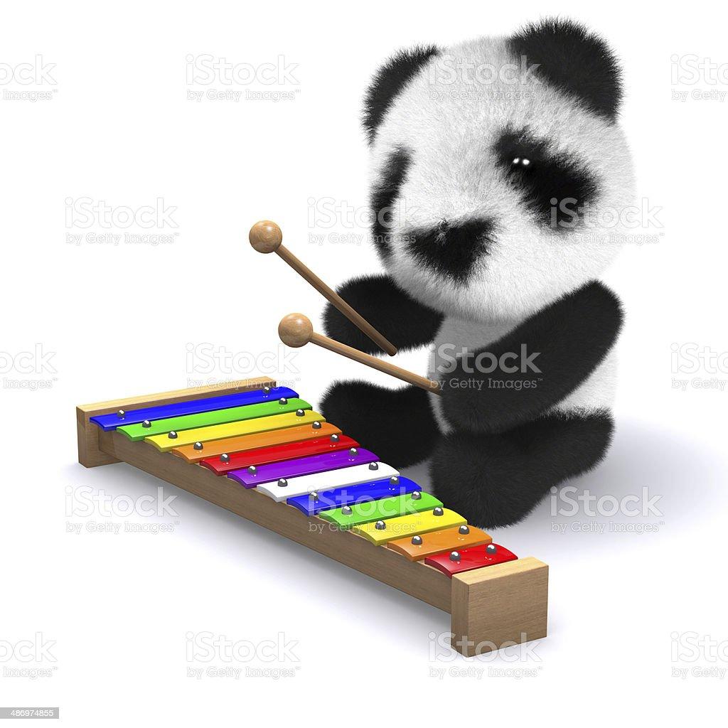 3d Panda plays beautiful music stock photo