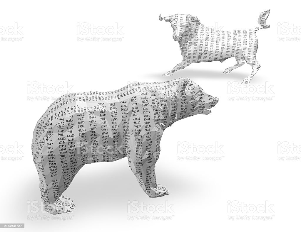 3d paper bull and bear with numbers texture, isolated. stock photo