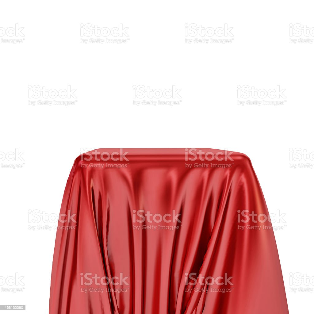 3d pedestal and red fabric on white background stock photo