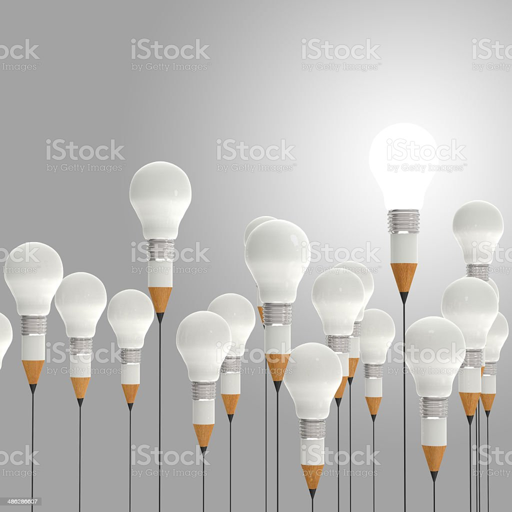 3d pencil and light bulb concept creative and leadership royalty-free stock photo
