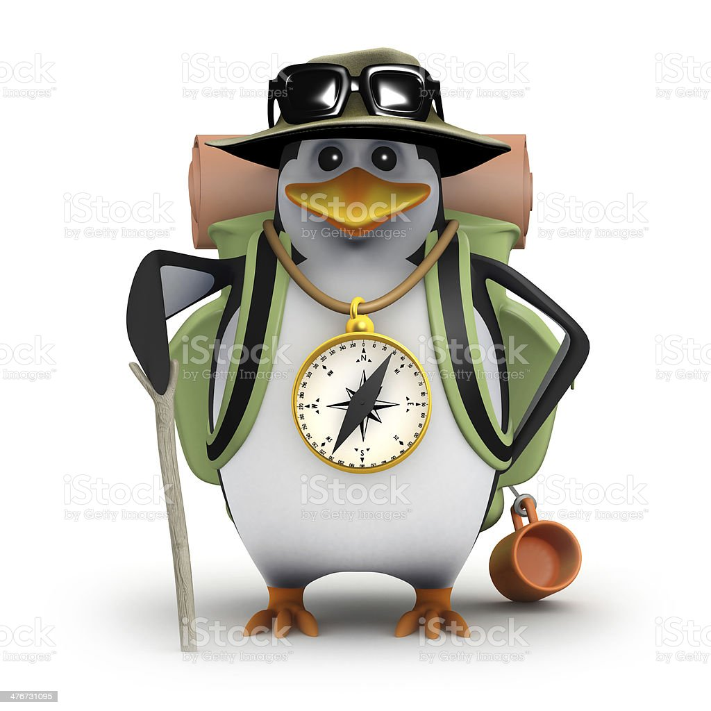 3d Penguin goes hiking stock photo