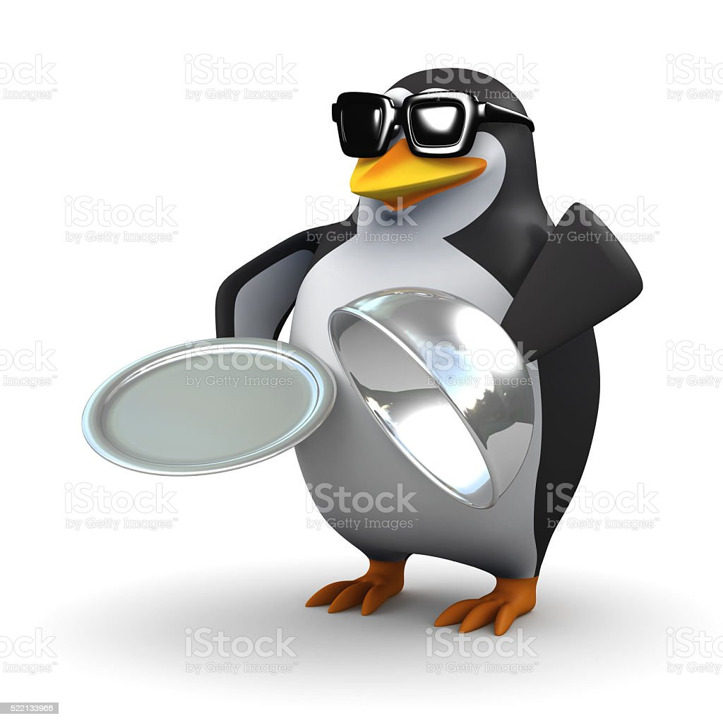 3d Penguin holding a silver service tray stock photo