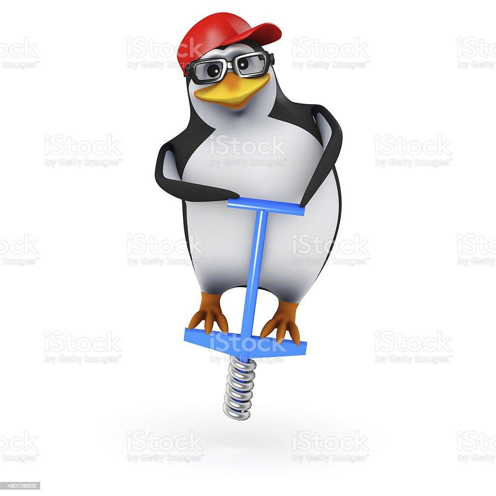 3d Penguin on a pogo stick stock photo