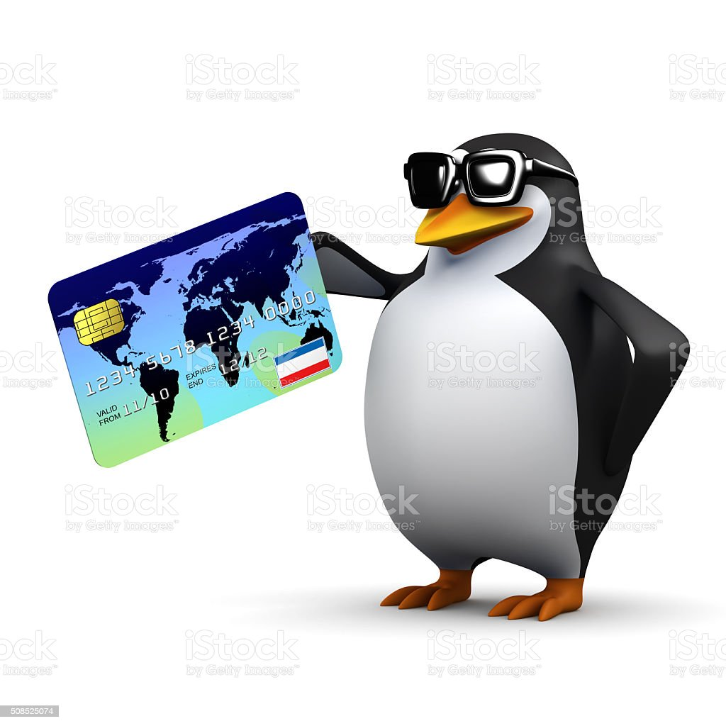 3d Penguin pays with debit card stock photo