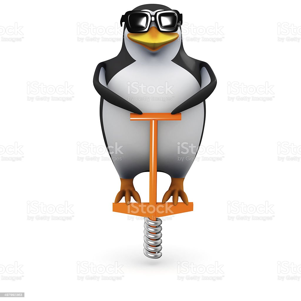 3d Penguin pogo stock photo