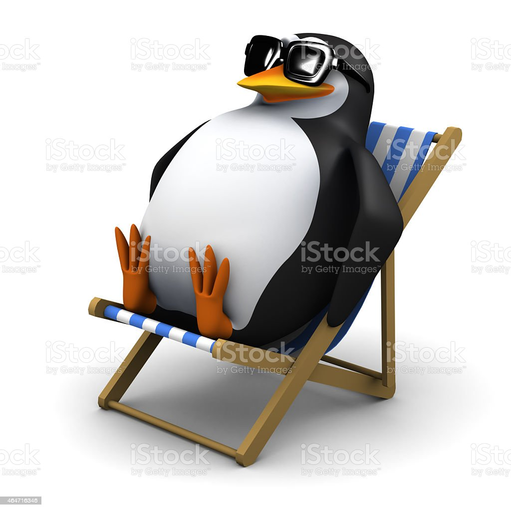 3d Penguin sits in a deckchair stock photo