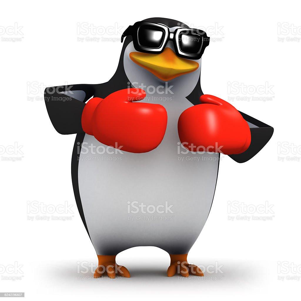 3d Penguin slugs it out stock photo