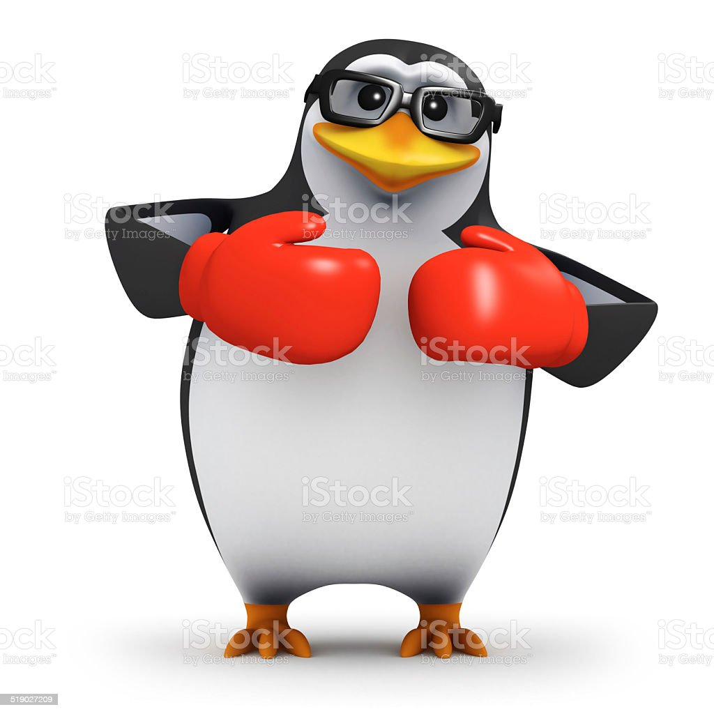 3d Penguin wearing boxing gloves stock photo