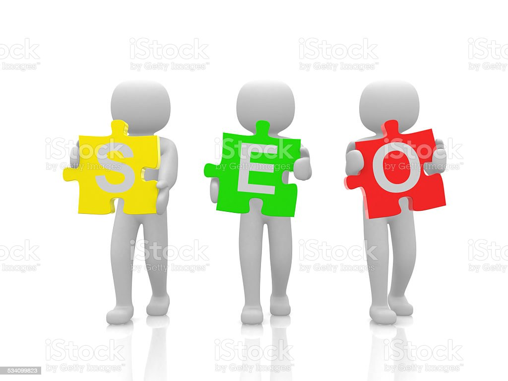 3d people and SEO. Business metaphor stock photo