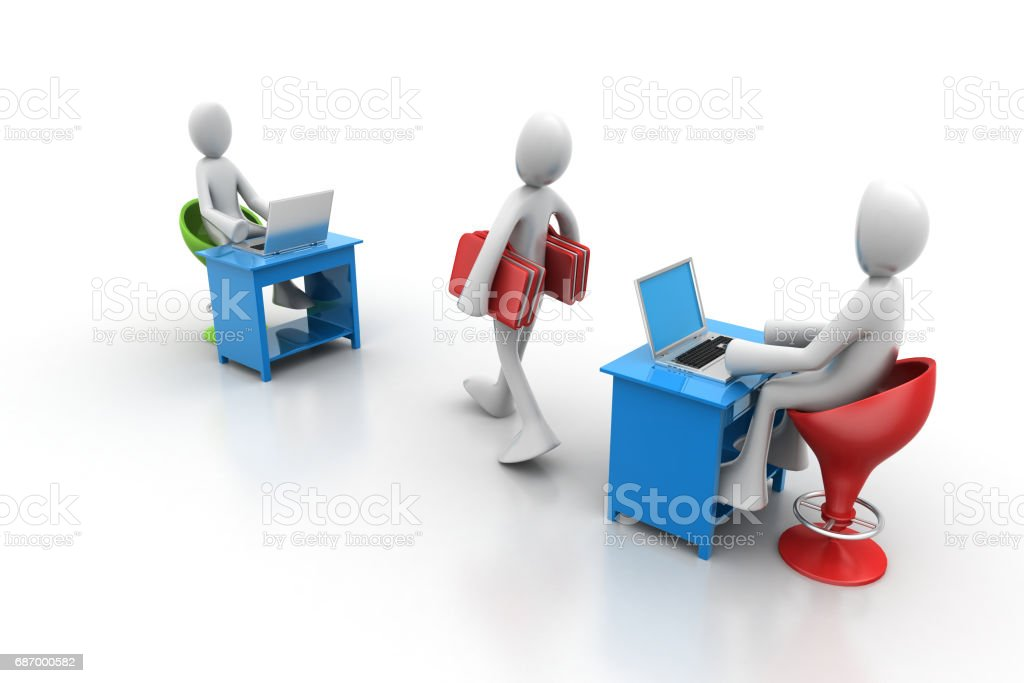 3d people carrying the file folder in office stock photo