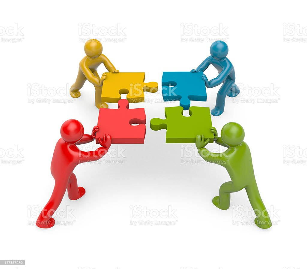 3d people connect puzzles. Partnership royalty-free stock photo