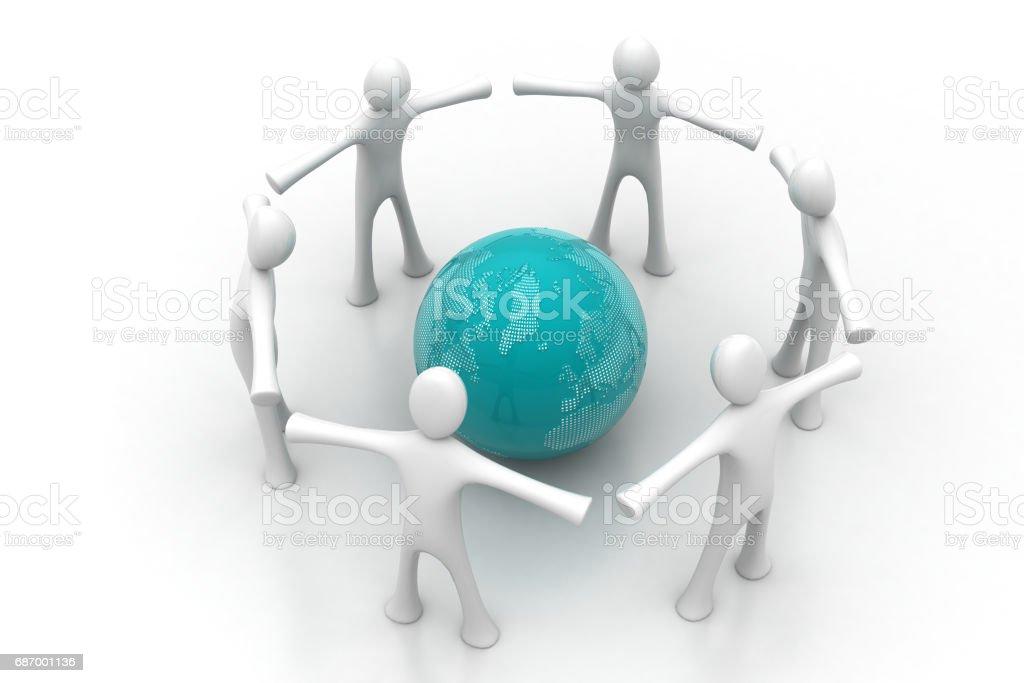 3d people create a circle around the globe stock photo