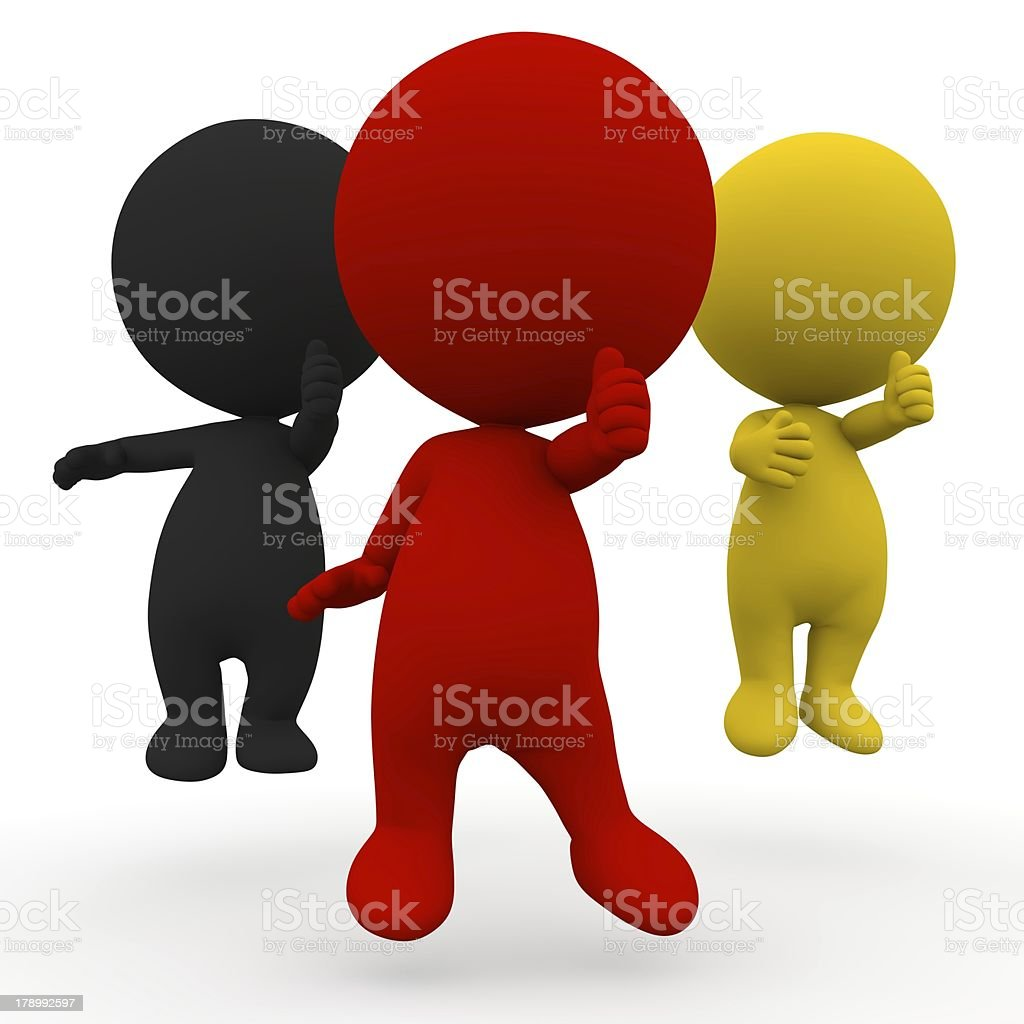 3d people election Germany schwarz rot gold thumb up stock photo