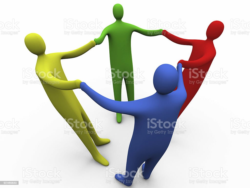 3d people holding hands #3 royalty-free stock photo