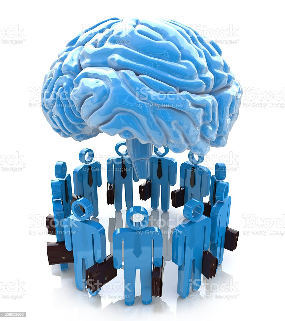 3d people- human character end blue brain. Forum Mind stock photo