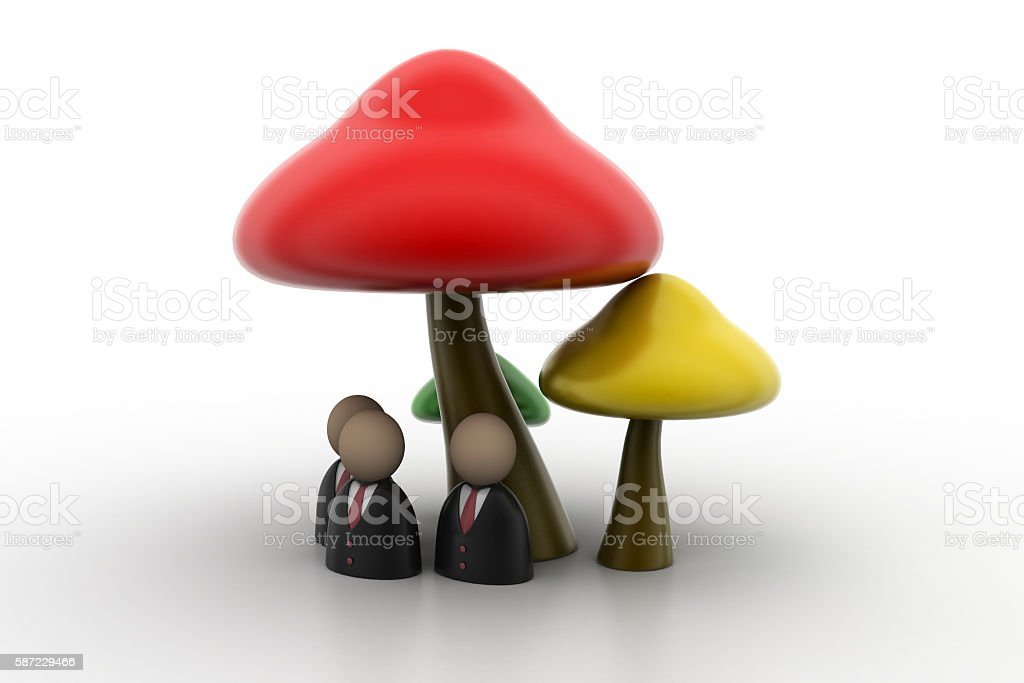 3d people icon under the mushrooms stock photo
