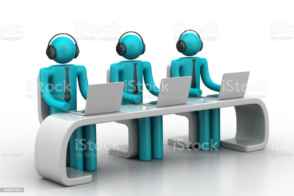 3d people in a modern desk with laptop stock photo