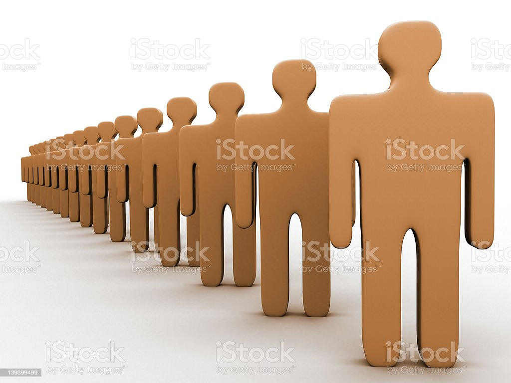 3d people in a row royalty-free stock photo