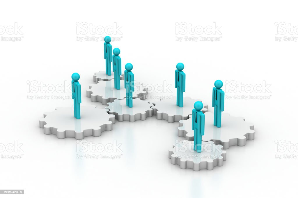 3d people in gear, team work concept stock photo