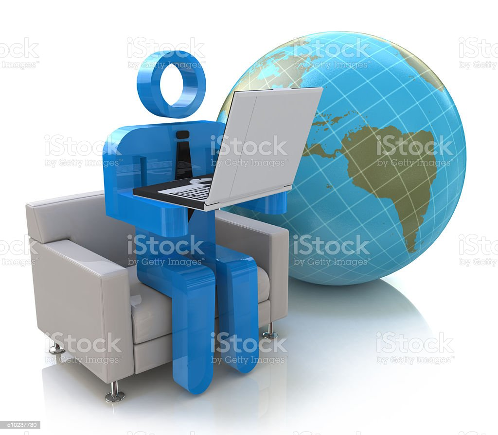 3d people - man, person - Global communication stock photo