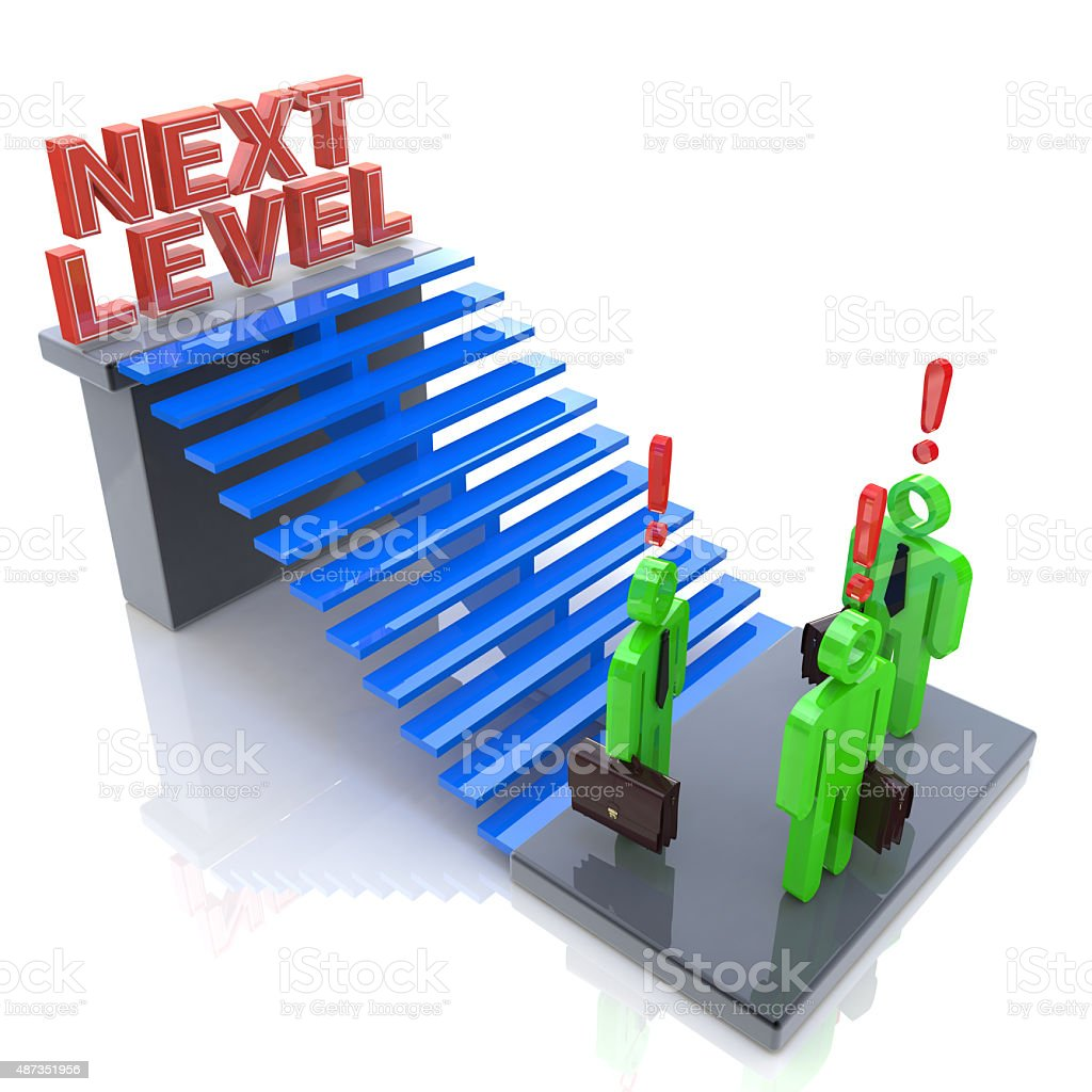 3d people - man, person with ladder. Next level. Progress stock photo