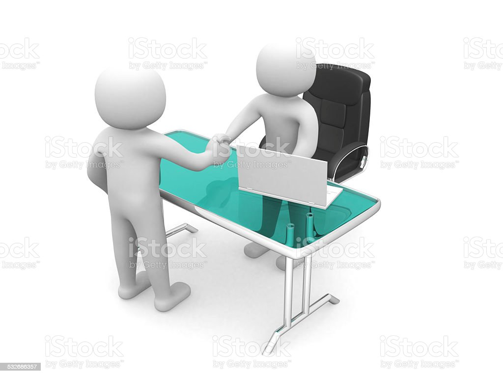 3d people, person in an office. Businessmen who shake hand stock photo