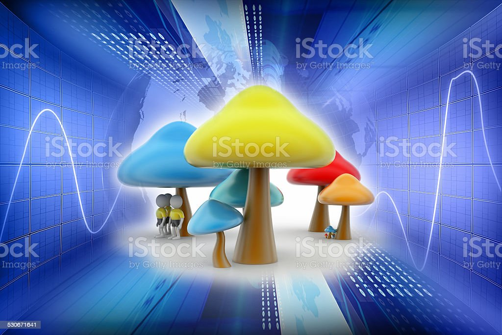 3d people under the mushrooms stock photo