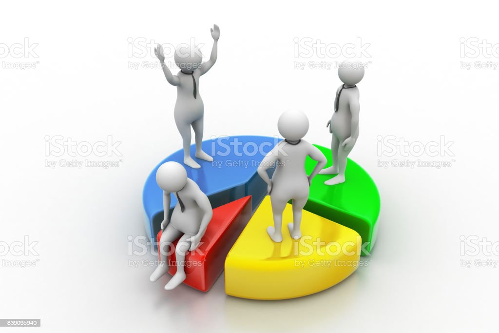 3d people with pie chart,  business competition stock photo
