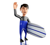 3d people with surfboard and wearing equipment.
