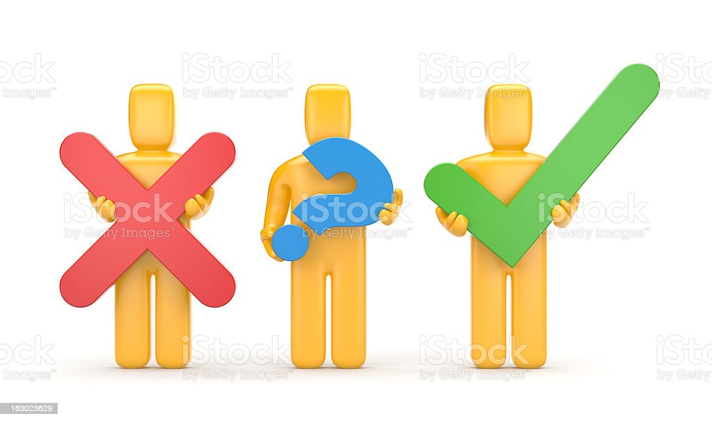 3d people with symbols stock photo
