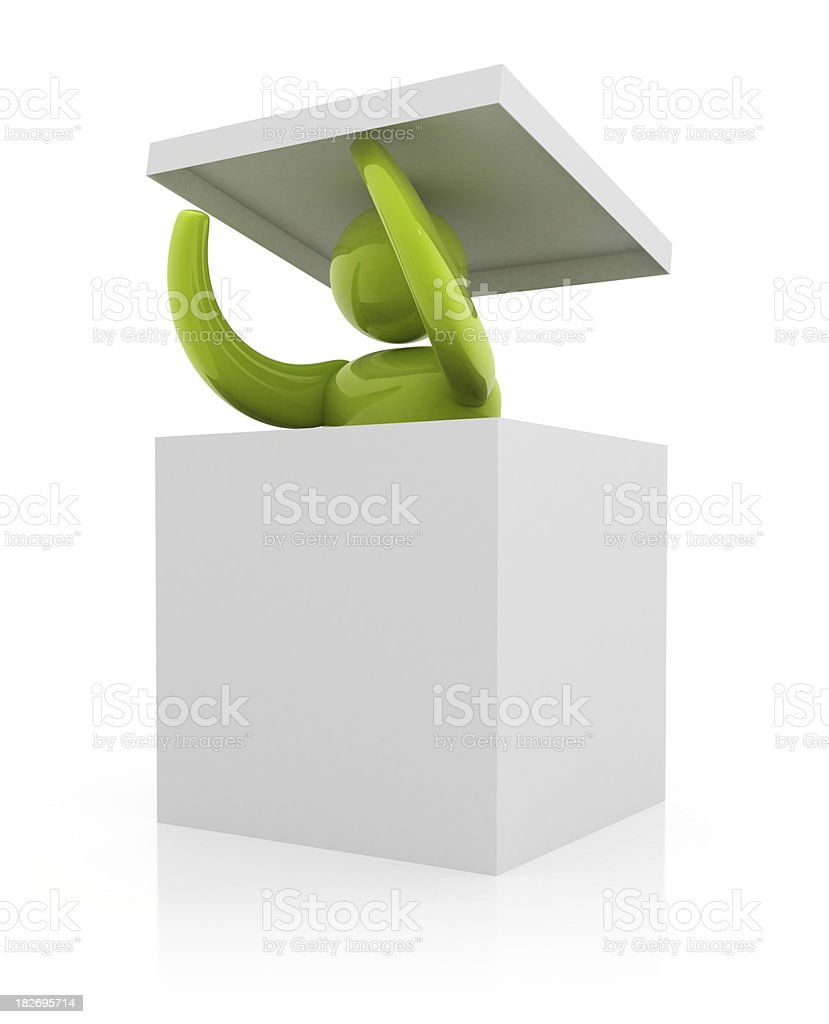 3d person in white box stock photo